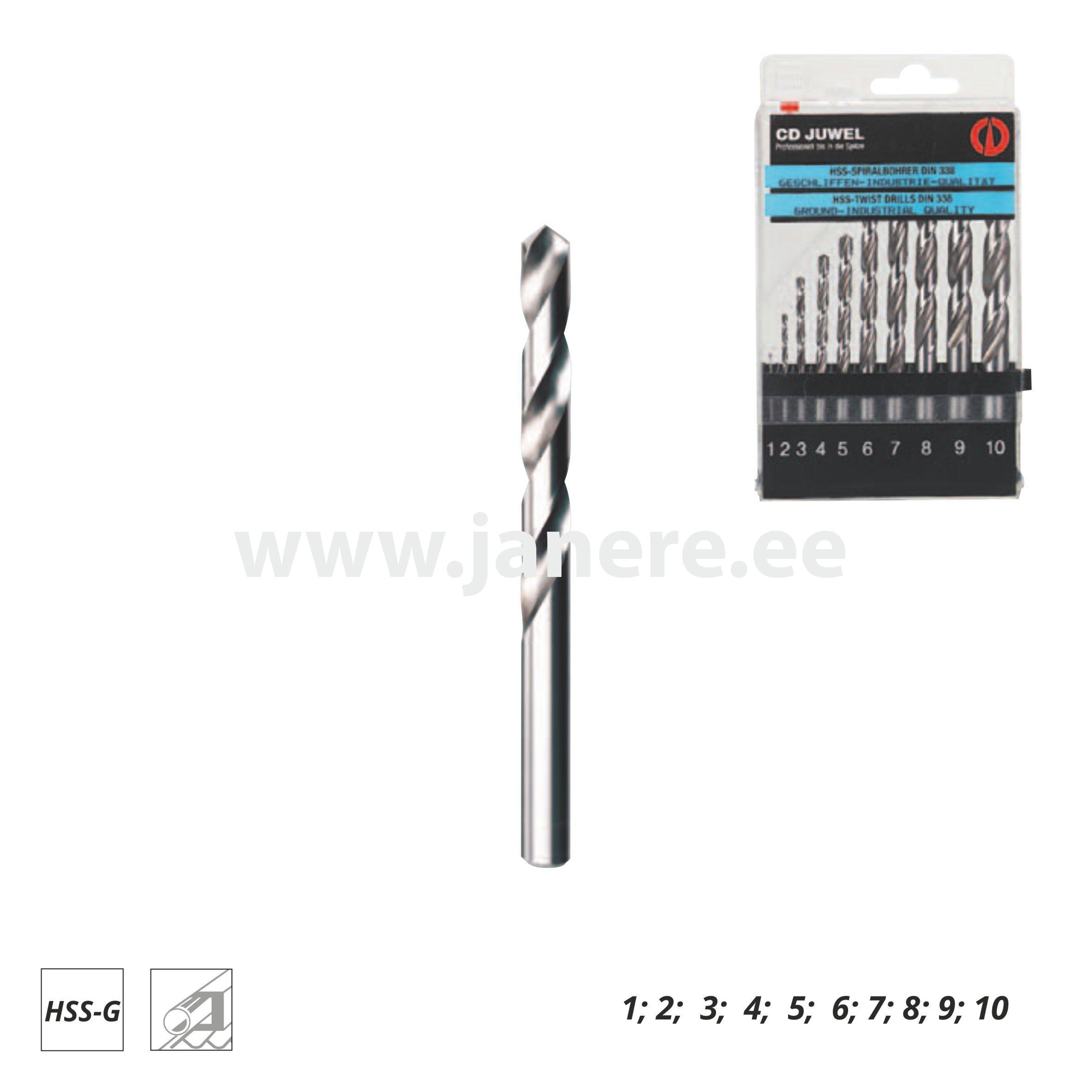 a910022556c Metallipuurid HSS-G 10osa plastk. CD - Janere